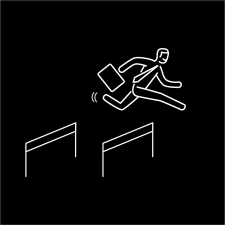 Business hurdler. Vector business illustration of businessman jumping over the obstacles   modern flat design linear concept icon and infographic  white on black background