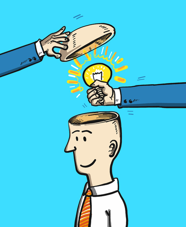 business meeting: creating new idea - conceptual vector illustration of man with open head changing bulb and replacing ideas in brain