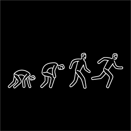 Never give up. Vector illustration of businessman evolution from crawling to running forward | modern flat design linear concept icon and infographic white on black background Illustration