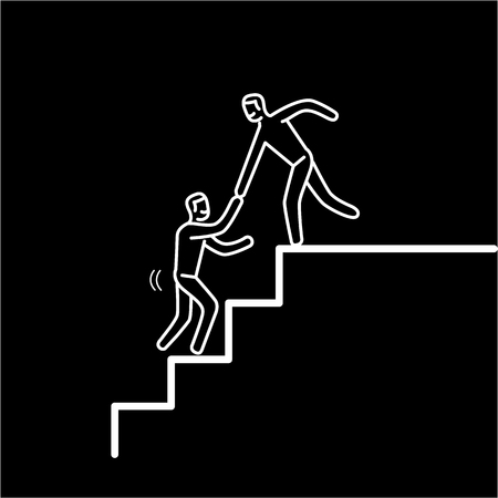 Helping hand. Vector illustration of businessman supporting on the way up on stairs | modern flat design linear concept icon and infographic white on black background