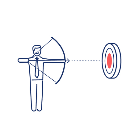 skill: Aiming target. Vector business illustration of businessman with bow and arrow focusing on goal   modern flat design linear concept icon and infographic red and blue on white background