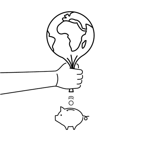 earn money: Earth depletion. Vector business illustration of hand squeezing earth for earning money | modern flat design linear concept icon and infographic black on white background Illustration
