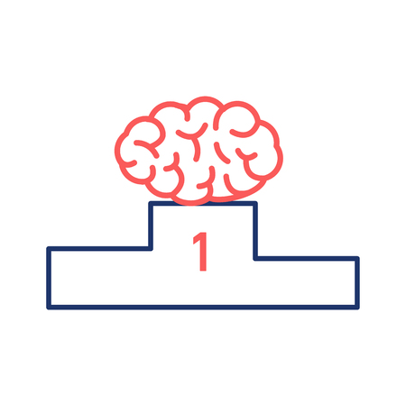 brain illustration: Best brain. Vector illustration of human brain on winners platform   modern flat design linear concept icon and infographic red and blue on white background