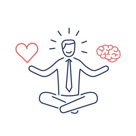 Équilibre. Illustration vectorielle d'homme d'affaires méditant équilibre coeur et cerveau   icône de concept linéaire moderne design plat et infographie rouge et bleu sur fond blanc Vecteurs