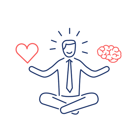 Balance. Vector illustration of meditating businessman balancing heart and brain | modern flat design linear concept icon and infographic red and blue on white background Иллюстрация