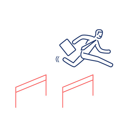 brain illustration: Business hurdler. Vector business illustration of businessman jumping over the obstacles   modern flat design linear concept icon and infographic red and blue on white background