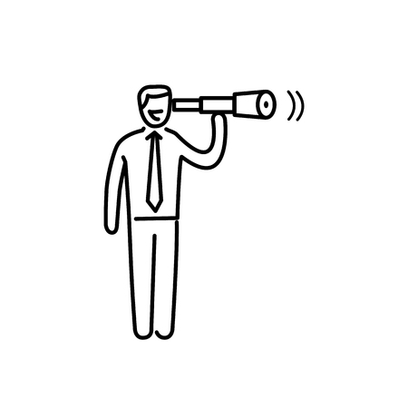 brain illustration: View. Vector business illustration businessman with telescope   modern flat design linear concept icon and infographic black on white background