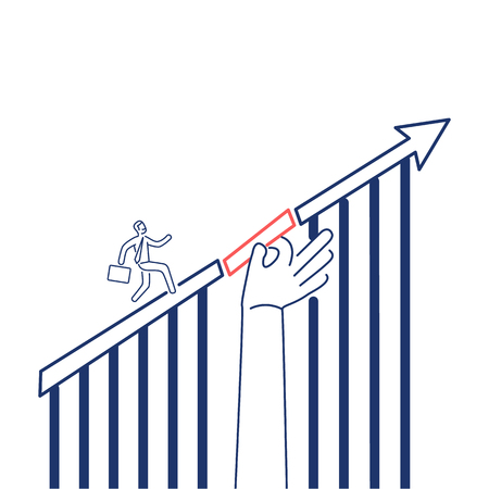 Support in growth. Vector business illustration of businessman running up on arrow and supporting hand on his way | modern flat design linear concept icon and infographic red and blue on white background