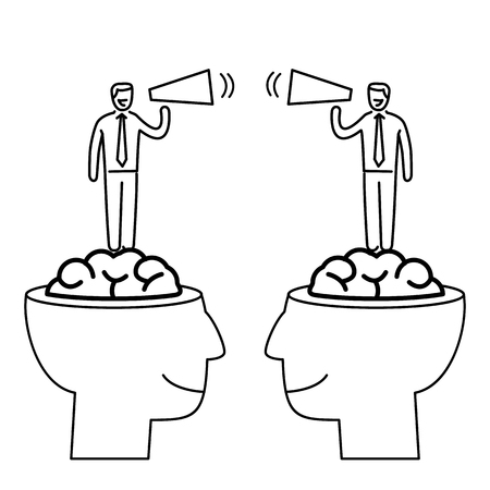 skill: Communication between two brains. Vector business illustration of business people with megaphone standing in human brain   modern flat design linear concept icon and infographic black on white background Illustration