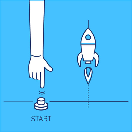 시작하십시오. 시작 버튼과 로켓을 밀고 손의 벡터 비즈니스 일러스트 레이션 | 현대 평면 디자인 선형 개념 아이콘 및 파란색 배경에 infographic