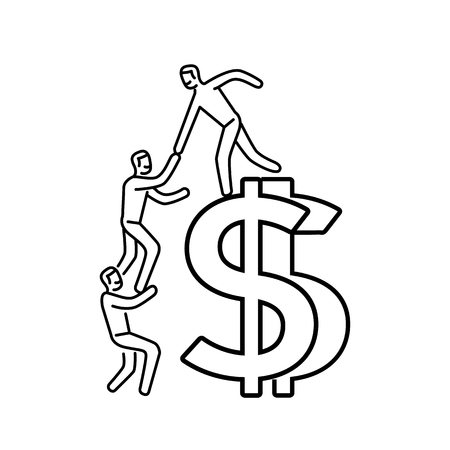 Vector business icon of team help cooperation climbing on dolar sign | modern flat design linear concept illustration and infographic black on white background