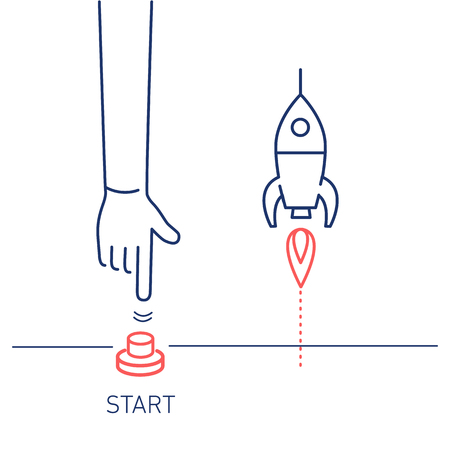 Start up. Vector business illustration of hand pushing start button and rocket | modern flat design linear concept icon and infographic red and blue on white background Vectores