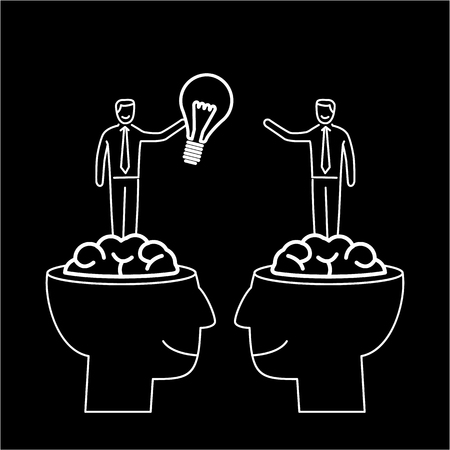brain illustration: Sharing and exchanging ideas. Vector business illustration of two businessmans sharing bulb in human brains   modern flat design linear concept icon and infographic white on black background