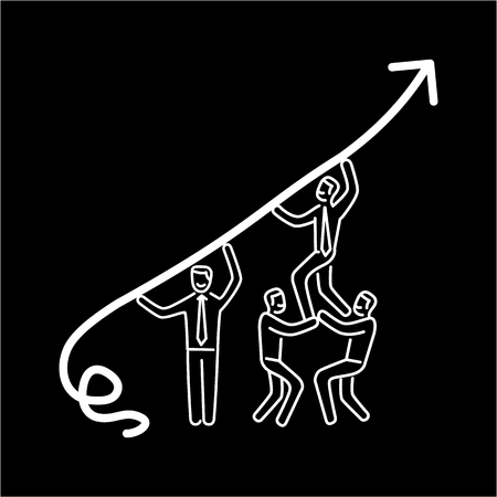 skill: Vector business icon of team cooperation   modern flat design linear concept illustration and infographic white on black background