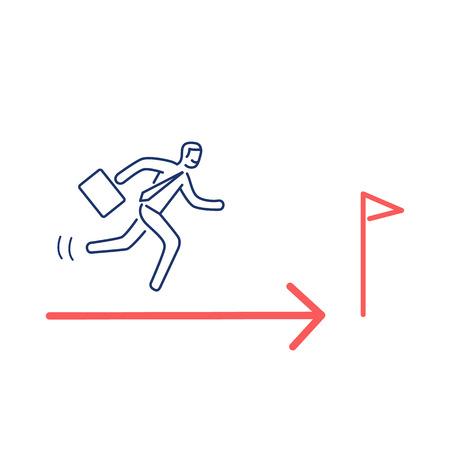 Rennen naar het doel. Vectorillustratie van businesman op weg om te eindigen | moderne platte ontwerp lineaire concept pictogram en infographic rood en blauw op witte achtergrond Stock Illustratie