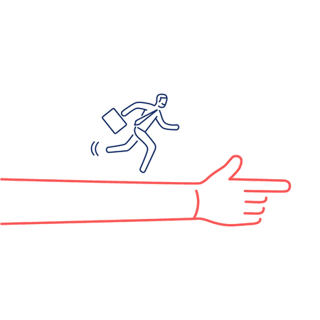 Moving forward. Vector illustration of businessman running to goal on showing hand | modern flat design linear concept icon and infographic blue and red on white background