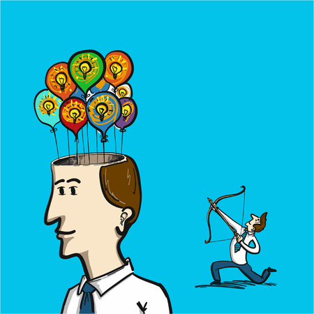 busines: focus on new idea - conceptual vector illustration of man with bow focusing on inflatable balloons in man head