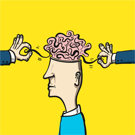 topics: untangling the confusion in the brain - conceptual vector illustration Illustration