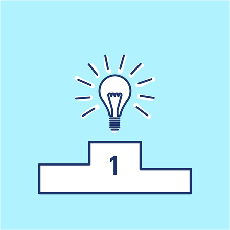 brain illustration: Best idea. Vector business icon of bulb on winners podium   modern flat design linear concept illustration and infographic blue on white background Illustration
