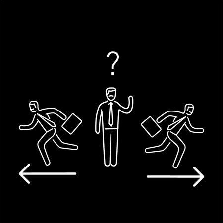 Indecision. Vector illustration of confused businessman choosing the right way | modern flat design linear concept icon and infographic white on black background
