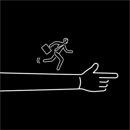 Moving forward. Vector illustration of businessman running to goal on showing hand | modern flat design linear concept icon and infographic white on black background Illustration