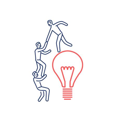 Cooperación y trabajo en equipo. La ilustración del vector del hombre de negocios ayuda a subir en bulbo | icono de concepto lineal de diseño plano moderno e infografía rojo y azul sobre fondo blanco