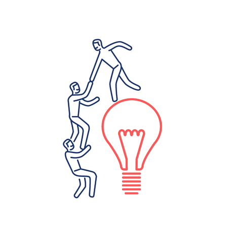 Cooperation and teamwork. Vector illustration of businessman helps to climb on bulb | modern flat design linear concept icon and infographic red and blue on white background Illustration