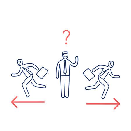 Besluiteloosheid. Vector illustratie van verwarde zakenman die de juiste manier kiest moderne platte ontwerp lineaire concept pictogram en infographic rood en blauw op witte achtergrond Stock Illustratie