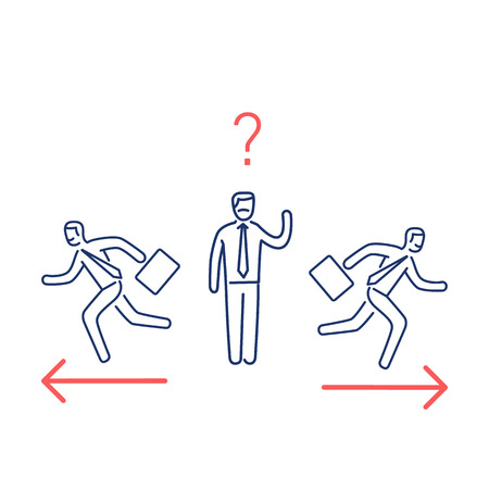 Indecision. Vector illustration of confused businessman choosing the right way | modern flat design linear concept icon and infographic red and blue on white background
