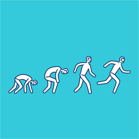 Never give up. Vector illustration of businessman evolution from crawling to running forward | modern flat design linear concept icon and infographic on blue background
