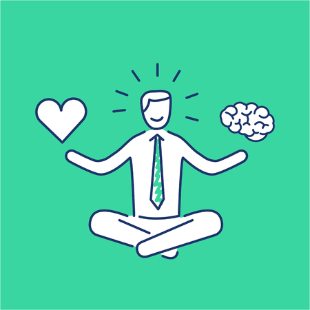 Balance. Vector illustration of meditating businessman balancing heart and brain | modern flat design linear concept icon and infographic on green background