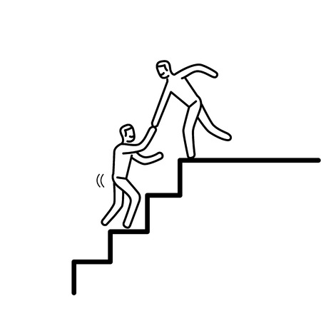 skill: Helping hand. Vector illustration of businessman supporting on the way up on stairs   modern flat design linear concept icon and infographic black on white background Illustration