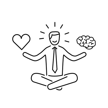 career coach: Balance. Vector illustration of meditating businessman balancing heart and brain | modern flat design linear concept icon and infographic black on white background