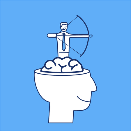 brain illustration: Vector business icon of businessman aiming target from brain   modern flat design linear concept illustration and infographic on blue background