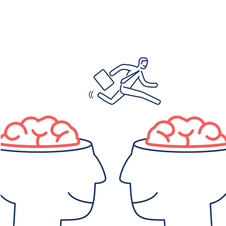 brain illustration: Mind exchange. Vector illustration of businessman jumping from one brain to other   modern flat design linear concept icon and infographic blue and red on white background