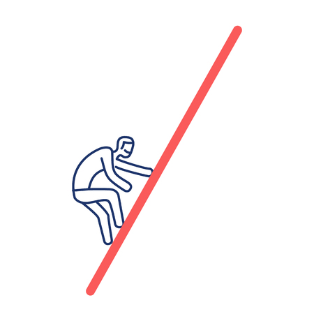 Moeilijke uitdaging. Vectorillustratie van het beklimmen van zakenman | moderne platte ontwerp lineaire concept pictogram en infographic blauw en rood op witte achtergrond Stockfoto - 76597389