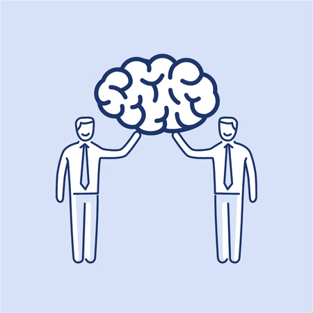 Brain trust. Vector illustration of two businessmans holding human brain | modern flat design linear concept icon and infographic on blue background