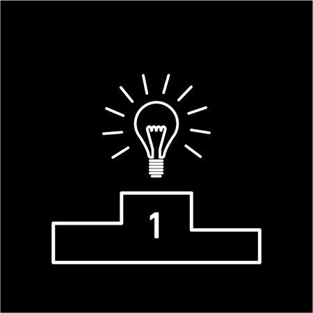 skill: Best idea. Vector business icon of bulb on winners podium   modern flat design linear concept illustration and infographic blue on white background Illustration