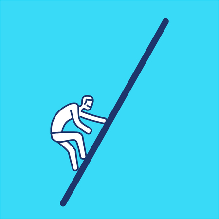 Difficult challenge. Vector illustration of climbing up businessman | modern flat design linear concept icon and infographic on blue background