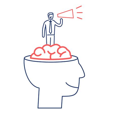 Gedachte kracht. Vector bedrijfsillustratie van zakenman binnen hersenen met megafoon | moderne platte ontwerp lineaire concept pictogram en infographic rood en blauw op witte achtergrond Stock Illustratie
