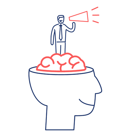 Mind power. Vector business illustration of businessman inside brain with megaphone | modern flat design linear concept icon and infographic red and blue on white background