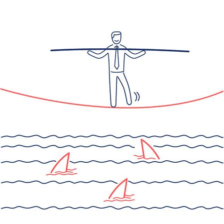 Onder haaien. Vector bedrijfsillustratie van zakenman het in evenwicht brengen over het waterhoogtepunt van haaien | moderne platte ontwerp lineaire concept pictogram en infographic rood en blauw op witte achtergrond Stockfoto - 76597403