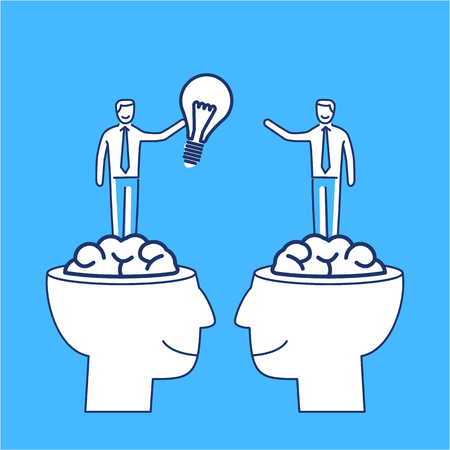 brain illustration: Sharing and exchanging ideas. Vector business illustration of two businessmans sharing bulb in human brains   modern flat design linear concept icon and infographic on blue background