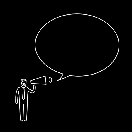 Marketing and communication. Vector business illustration of speaking businessman with megaphone in to buble | modern flat design linear concept icon and infographic white on black background Illustration