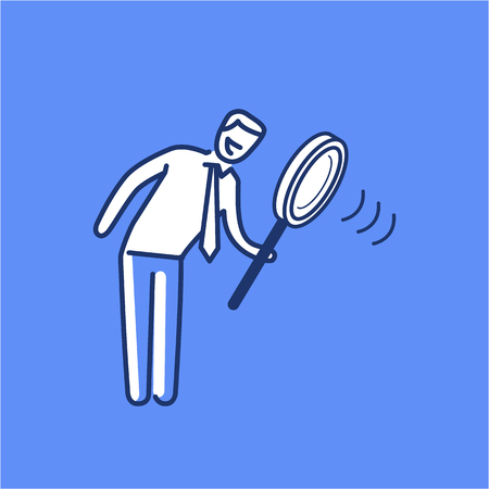 Searching. Vector illustration of businessman with magnifying glass | modern flat design linear concept icon and infographic on blue background