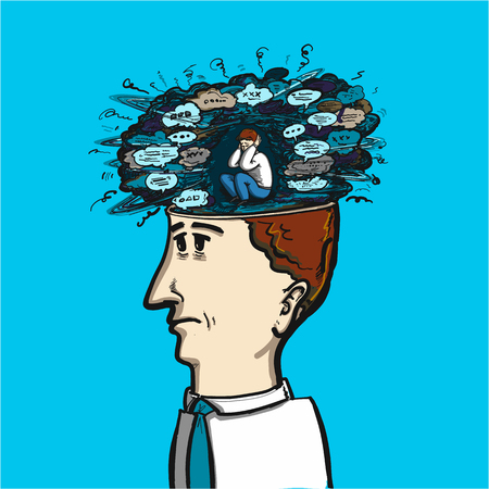 brain illustration: noise of thoughts and voices in our brain - conceptual vector illustration of congested mind Illustration