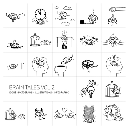 Brain tales volume 2, concept illustrations set of brain in different funny situations | flat design linear icons set and infographic black on white background