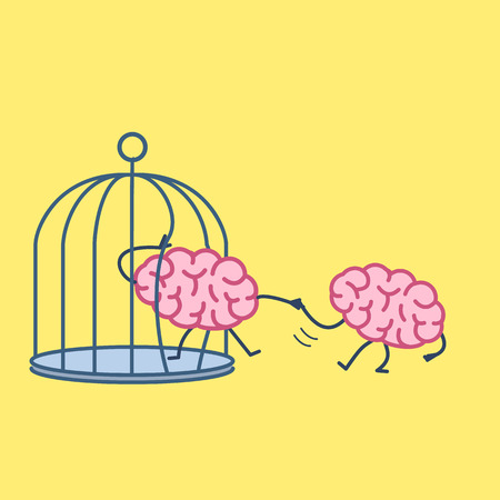 Brain helping other to escape from cage. Vector concept illustration of support escaping imprisoned mind  | flat design linear infographic icon on yellow background