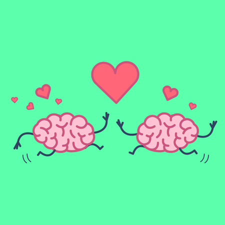 Brain in love. Vector concept illustration of two happy brains running to each other with heart symbols above | flat design linear infographic icon on green background