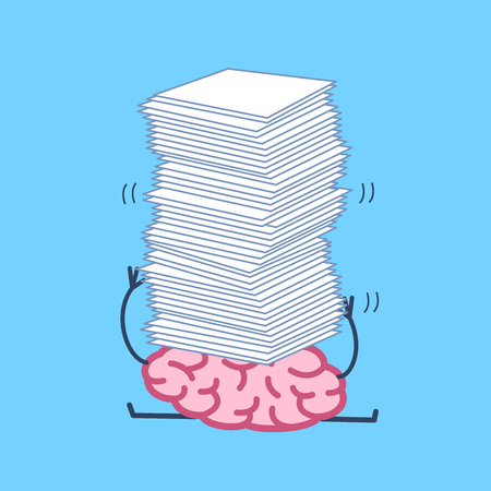 overwhelmed: Overworked brain under pressure. Vector concept illustration of brain overwhelmed heap of papers | flat design linear infographic icon on blue background